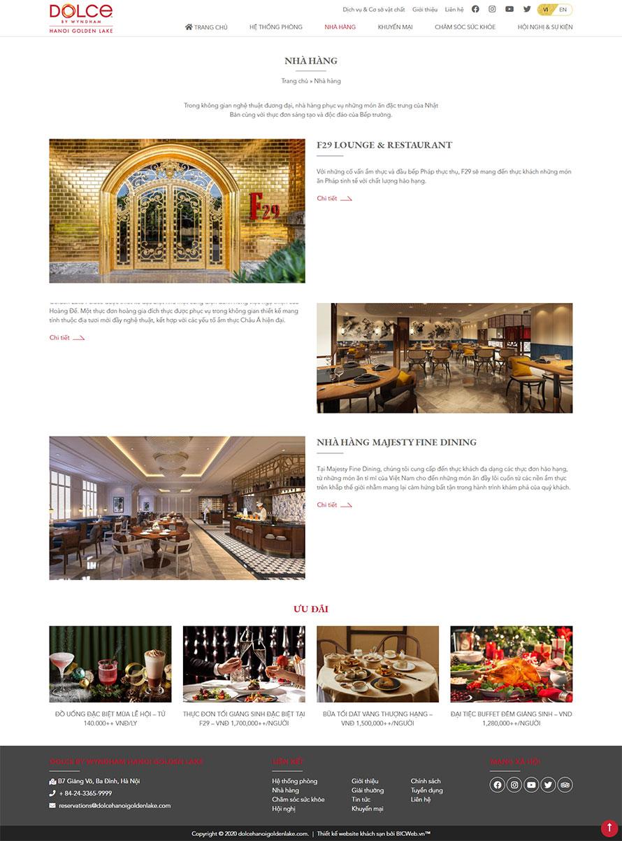 Hình ảnh trang danh sách các nhà hàng trong khách sạn