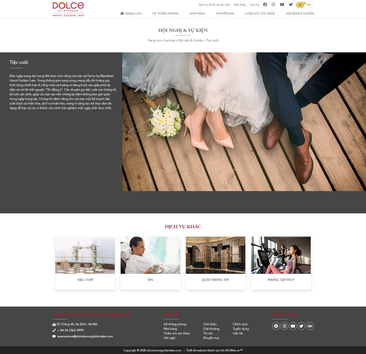 Hình ảnh trang dịch vụ tiệc cưới